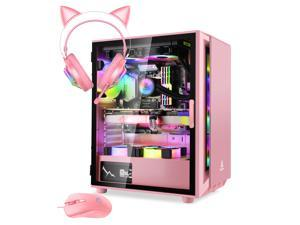Segotep Gaming Case with Headset and Gaming Mouse Combo Pink ATX Micro-ATX, MINI-ITX Mid Case USB3.0 Port, 1.0mm SPCC Steel Plate, Support Liquid Cooling Tempered Glass Side