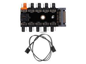 SATA 1 To 10 Way Splitter PWM Cooling Fan Hub 4-Pin 12V Power Socket PCB Adapte FAN HUB Chassis Fan Line Z09 Drop ship