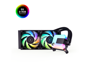EK 240mm AIO D-RGB All-in-One Liquid CPU Cooler with EK-Vardar High-Performance PMW Fans, Water Cooling Computer Parts, 120mm Fan, Intel 115X/1200/2066, AMD AM4, (240mm AIO)