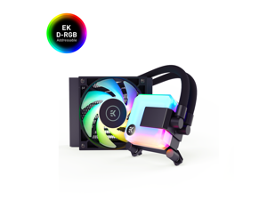 EK 120mm AIO D-RGB All-in-One Liquid CPU Cooler with EK-Vardar High-Performance PMW Fans, Water Cooling Computer Parts, 120mm Fan, Intel 115X/1200/2066, AMD AM4, (120mm AIO)