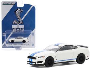 """2020 Ford Mustang Shelby GT350 Heritage Edition White with Blue Stripes """"Mustang GT350 55th Anniversary"""" 1/64 Diecast Model Car by Greenlight"""