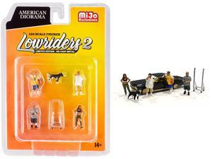 """""""Lowriders 2"""" 6 piece Diecast Set (4 Figurines, 1 Dog and 1 Accessory) for 1/64 Scale Models by American Diorama"""