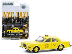 """1984 Dodge Diplomat Yellow """"NYC Taxi"""" (New York City) """"Hobby Exclusive"""" 1/64 Diecast Model Car by Greenlight"""