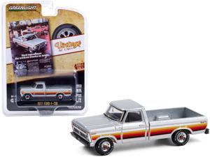 """1977 Ford F-150 Pickup Truck Silver with Stripes """"Vintage Ad Cars"""" Series 4 1/64 Diecast Model Car by Greenlight"""