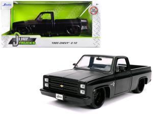"1985 Chevrolet Silverado C-10 Pickup Truck Matt Black with Black Wheels ""Just Trucks"" 1/24 Diecast Model Car by Jada"