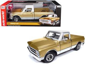 Autoworld AMM1165 1968 Chevrolet C-10 Fleet Side Pickup Truck Metallic Gold with White Top Limited Edition to 1,002 pieces Worldwide 1-18 Diecast Model Car