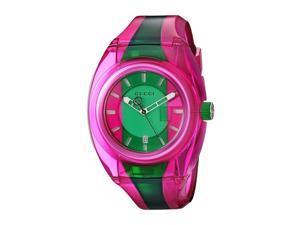 e4257dc4343 Gucci YA137115 Sync Unisex Watch Pink Green Stripe 46mm Transparent Rubber
