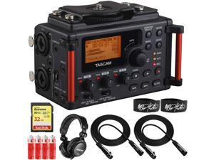Tascam DR60DMKII Linear PCM DSLR Digital Field Recorder Bundle with TH-02 Headphones, 2X Cables, AA Batteries and 32GB Memory Card