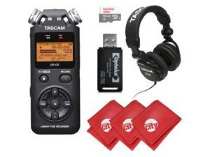 TASCAM Portable Digital Recorder with Microphones, Headphones, 64GB Memory Card, and 3 Pcs Microfiber Cloth (DR-05)