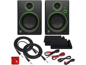 Mackie CR4BT 4-Inch Creative Reference Multimedia Studio Monitors with Bluetooth Ultimate Cable Bundle Including Balanced Stereo TRS with Dual 1/4-Inch to 1/8-Inch, RCA and 3.5mm MP3 Cables