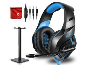ONIKUMA K1-B Pro Blue Gaming Headset Over-Ear Surround Sound Noise Cancelling Microphone Bundle with Headphone Stand for PC, Xbox One, PS4, Nintendo Switch, Mac, Desktop, Laptop, Computer