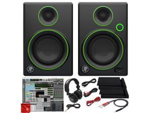 """Mackie CR3-X 3-Inch Creative Reference Multimedia Monitors Bundle with Pro Tools First DAW Music Editing Software, Closed-Back Professional Studio Headphones, Dual 1/4"""" Stereo to 3.5mm Cable"""