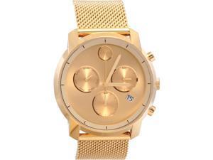 Movado Bold Mens Gold Dial Mesh Bracelet Swiss Quartz Watch 3600372