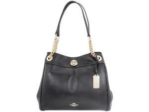 COACH Women's Turnlock Edie Light Black Shoulder Bag 36855