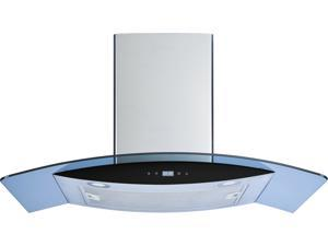 """Winflo 30"""" Wall Mount Stainless Steel/Arched Tempered Glass Convertible Kitchen Range Hood with 450 CFM Air Flow LED Display Touch Control Included Dishwasher-Safe Aluminum Filters and LED Lights"""