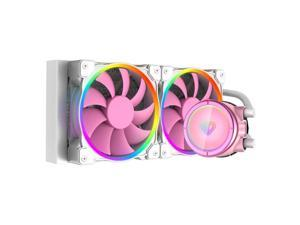 ID-COOLING PINKFLOW 240 CPU Water Cooler 5V Addressable RGB AIO Cooler 240mm CPU Liquid Cooler 2X120mm RGB Fan, Intel 115X/2066, , AMD TR4/AM4 (Remote Controller is Included)