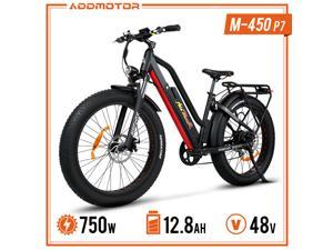 """Addmotor 26"""" Aluminum Electric Bike, Adults 750W Electric Commuting Bicycle with Removable 48V 12.8Ah Battery, Professional Derailleur with 7 Speed City Step-Thru M-450 Ebike"""