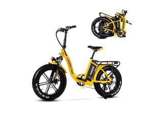 """20"""" Fat Tire Electric Bike for Adults, 750W Folding E-Bike Snow Beach Mountain Moped City Bicycle, 22MPH Addmotor Motan M-140 R7 Yellow Ebike with Removable 48V 16Ah Battery"""