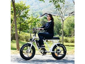 750W 48V 14AH Electric Bike for Adult, 20'' Fat Tire Electric Mountain Snow Beach City Bicycle, Cruiser Commuter Ebikes, Addmotor Motan M-60 R7 Mudguard Bicycle, White