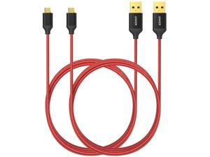 [2-Pack] Anker® 6ft / 1.8m Nylon Braided Tangle-Free Micro USB Cable with Gold-Plated Connectors for Android, Samsung, HTC, Nokia, Sony and More (Red)