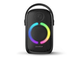 Soundcore Rave Neo, Portable Bluetooth Speaker with Lights, BassUp Technology, Sync 100+ Speakers, 18H Playtime, Waterproof, Custom EQ, App