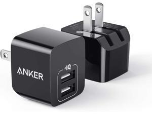 Anker 2-Pack Dual Port 12W USB Wall Charger with Foldable Plug, PowerPort mini, Black