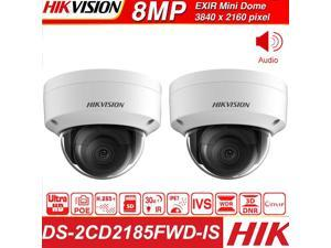 Hikvision 8MP IP Camera Network Dome Camera DS-2CD2185FWD-IS 3D DNR Dome Camera with High Resolution, (8MP, 4 Fixed Lens, 2Pcs)