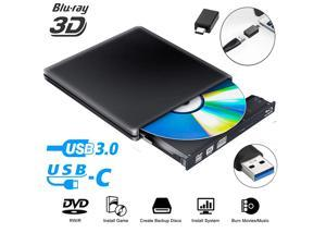 External Blu Ray DVD Drive 3D,LUOM USB 3.0 and Type-C Bluray CD DVD Burner Slim Optical Portable Blu-ray Writer for MacBook OS Windows xp/7/8/10, Linux, Laptop PC (Black)