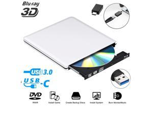 External Blu Ray DVD Drive 3D,LUOM USB 3.0 and Type-C Bluray CD DVD Burner Slim Optical Portable Blu-ray Writer for MacBook OS Windows xp/7/8/10, Linux, Laptop PC (Silver)