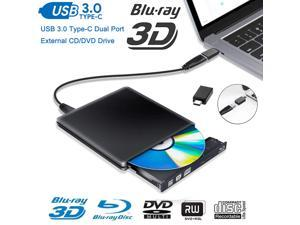 External Blu Ray DVD Drive 3D,LUOM USB 3.0 and Type-C Bluray DVD CD RW Row Burner Player Rewriter Compatible for MacBook OS Windows 7 8 10 PC iMac - Black