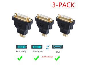 [3-Pack] DVI Female to HDMI Male Adapter Bi-Directional DVI 24+5 Port Converter for PS3,PS4,TV Box,Blu-ray,Projector,HDTV, Black