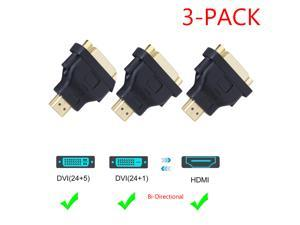 HDMI to DVI Adapter,  [3-Pack] Bi-Directional HDMI Male to DVI Female Converter, 1080P DVI to HDMI Conveter, 3D for PS3,PS4,TV Box,Blu-ray,Projector,HDTV, Black