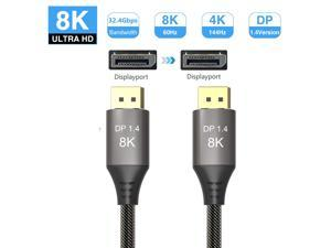 LUOM DisplayPort Cable Ultra HD 8K 4K Copper Cord DP 1.4 HBR3 8K@60Hz 4K@144Hz High Speed 32.4Gbps HDCP 3D Slim and Flexible DP to DP Cable 6.6ft