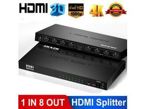 4K HDMI Splitter 1 in 8 Out by LUOM - Ultra HD 4Kx2K 1x8 Ver. 1.4 HDCP, Power HDMI Supports 3D Full HD 1080P 4Kx2K for Xbox, PS4 PS3 Fire Stick Blu Ray Apple TV HDTV - Adapter Included