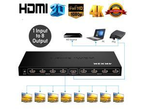 Ultra HD 4K HDMI Splitter 1 In 8 Out 8 Port Repeater Amplifier Hub 3D 1080p HDMI Splitter Power Supply Adapter Compatible with Ps4 / Xbox One/Fire TV/Apple TV/Sky Box/Stb/DVD/Laptop/Blue ray