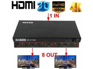 8 Port 1x8 HDMI Splitter 8 Way HDMI Powered Splitter Ultra HD 4K,Full HD 1080P 3D Support One Input to Eight Outputs Compatible for Projector, HDTV, STB, DVD, PS3 Etc, Power Supply Adapter Include