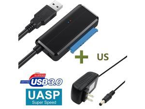 SATA to USB Cable USB 3.0 to Hard Drive Adapter Converter for 2.5 3.5 Inch Hard Drive Disk HDD SATA III and SSD Support UASP with 12V 2A Power Adapter, for WD, Seagate, Toshiba, Samsung, Hitachi-Black