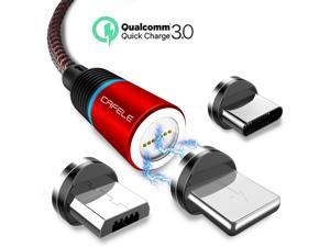 Magnetic Phone Quick Charge 3.0 Charger Cable, New Upgraded 3.0 A Fast Charge & Data Sync 3 in 1 Nylon Braided Magnetic Charging Cable for iOS, Android & Type C Smart Devices (1-Pack, Red, 4ft)