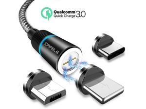 Magnetic Phone Quick Charge 3.0 Charger Cable, New Upgraded 3.0 A Fast Charge & Data Sync 3 in 1 Nylon Braided Magnetic Charging Cable for iOS, Android & Type C Smart Devices (1-Pack, Black, 4ft)