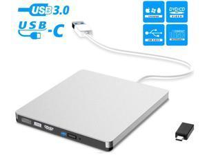 External CD Drive, USB 3.0 & USB-C External DVD CD Drive, Burner High Speed Data Transfer USB DVD Player for Laptop Notebook PC Desktops Support Windows/Vista/7/8.1/10, Mac OSX and Linux OS Silver