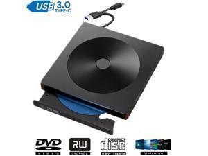External CD DVD Drive for Laptop, LUOM High-Speed Transfer USB 3.0 & Type-C Slim Portable CD DVD +/-RW Optical Drive Burner Writer Reader for PC Desktops, Compatible with PC Desktop -Black