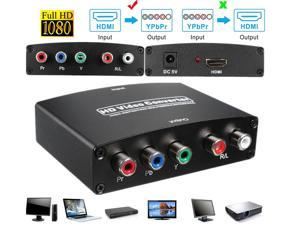 1080P HDMI to RGB Component 5 RCA YPbPr Video + R/L Audio Converter Adapter, Support Apple TV, PS3, Roku, Xbox, Fire Stick, DVD Players to HDTV and Projector (Black)