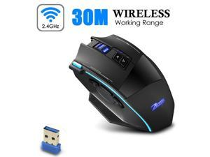 Zelotes Wireless Gaming Mouse, 9 Button 5 Levels Adjustable 4800 DPI 2.4 GHz Game Mouse Rechargeable Optical Mice Wireless/ Wired Mobile Mice for Notebook PC Compute Laptop Mac with USB Receiver