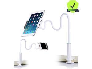 """Gooseneck Tablet Holder - Bendable Tablet Arm - Desk Mount Tablet Stand - for Most 4.7"""" to 10.6"""" Tablets - Detachable Holder, White"""