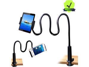 """Gooseneck Tablet Holder - Bendable Tablet Arm - Desk Mount Tablet Stand - for Most 4.7"""" to 10.6"""" Tablets - Detachable Holder, Black"""