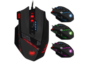 Zelotes PC Gaming Mouse LED RGB Backlit MMO 12 Programmable Buttons Mouse with Macro Recording Side Buttons Rapid Fire Button for Windows Computer Gamer (Wired, Black)