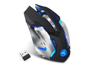LUOM M10 Rechargeable Wireless Mouse, 2.4G Ergonomic Gaming Mice Portable Optical with USB Receiver, 2400 DPI, 5 Buttons LED Lights Compatible with Laptop/PC/Chromebook (Black)