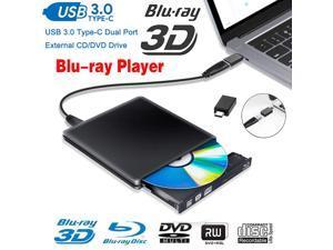 LUOM Aluminum External Blu-Ray Player Drive USB 3.0 Portable CD DVD +/-RW Drive DVD/CD ROM Rewriter Burner Writer Compatible with Laptop Desktop PC Windows Mac Pro MacBook (ODP1202, Black)