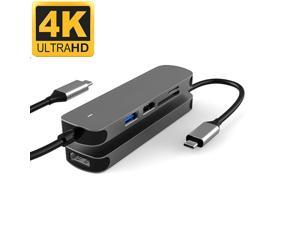 USB C Hub Multiport Adapter, USB 3.1- SuperSpeed 5 in 1 USB C Dongle with USB3.0, USB2.0 Port, TF/SD Card Reader and 4K HDMI Adapter for Mac Book Pro, XPS More Type C Devices