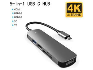 USB C Hub, USB Hub to HDMI 5-in-1 Adapter with USB 3.0/2.0 Port,SD/Micro SD Card Reader,4K HDMI Adapter Compatible for MacBook Pro Air USB C Laptops and More Type C Devices